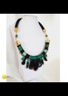 Smaragdzöld, fekete, türkizzöld, egyedi, kézműves, designer, selyem nyakék, nyaklánc - Liv Ékszerek, ékszer