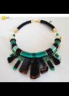 Smaragdzöld, fekete, türkizzöld, egyedi, kézműves, designer, selyem nyakék, nyaklánc, karkötő, ékszerszett - Liv Ékszerek, ékszer.