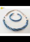 Kék, türkiz, rosegold színű, egyedi, kézműves, designer, csavart nyaklánc, karkötő, ékszerszett - Liv Ékszerek, ékszer