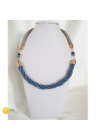 Kék, türkiz, rosegold színű, egyedi, kézműves, designer, csavart nyaklánc - Liv Ékszerek, ékszer.