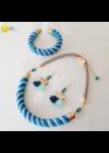 Sötétkék, türkiz, egyedi, kézműves, designer, Rainbow nyaklánc, karkötő, fülbevaló ékszerszettet - Liv Ékszerek, ékszer
