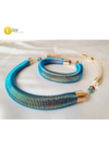 Kék, mustársárga, egyedi, kézműves 3D-s karkötő és/vagy nyaklánc, ékszerszett - Liv Ékszerek, ékszer