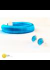 Kék, designer karkötő,  fülbevaló