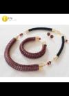 Fekete, piros, egyedi mintás, kézműves, designer nyaklánc és/vagy karkötő, ékszerszett - Liv Ékszerek