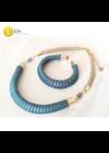 Kék, zöld, lila, kézműves,  designer karkötő, nyaklánc, ékszerszett, ékszer