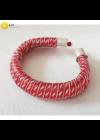 Piros, ezüst színű, kézműves,  designer karkötő, Liv Ékszerek