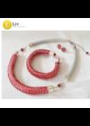 Piros, ezüst színű, kézműves,  designer karkötő, nyaklánc, ékszerszett-Liv Ékszerek