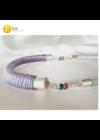 Türkiz, rózsaszín, egyedi mintás, kézműves nyaklánc - Liv Ékszerek, ékszer
