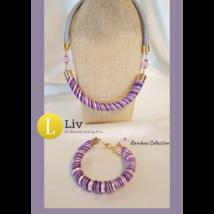 Lila szivárvány nyaklánc,pamut, selyem csíkos, designer nyaklánc