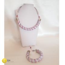 Fehér, kék, piros, ezüst, csíkos nyaklánc,karkötő ékszer szett