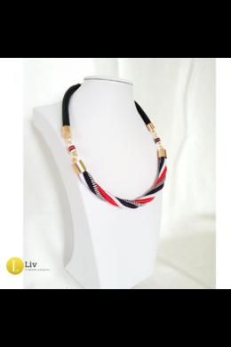 Fekete, fehér, piros, egyedi, kézműves, design, csavart nyaklánc - Liv Ékszerek, ékszer