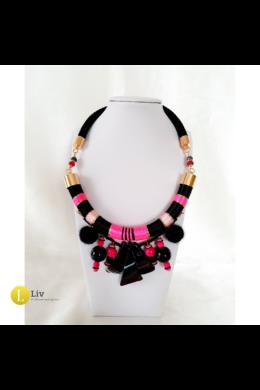 Fekete, fuxia, rózsaszín, egyedi, kézműves, design nyaklánc, fülbevaló ékszerszett  - Liv Ékszerek, ékszer