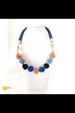 """Kék, rose gold, fekete, ,egyedi, kézműves design, """"bogyó""""  nyaklánc - Liv Ékszerek, ékszer"""