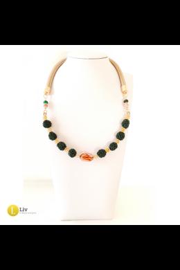 Őzbarna, zöld, mustár sárga, egyedi, kézműves, design, bogyó nyaklánc - Liv Ékszerek , ékszer