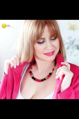 Fekete, arany, fuxia rózsaszín, egyedi, kézműves, bogyó nyaklánc - Liv Ékszerek, ékszer, nyaklánc
