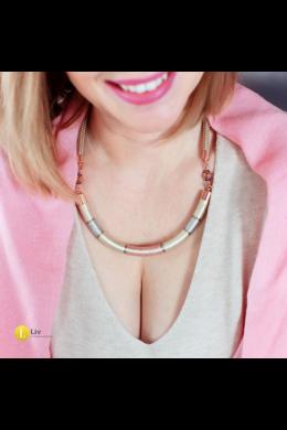 Rose gold, ezüst, arany színű, egyedi, kézműves, selyem nyaklánc - Liv Ékszerek, ékszer, tavaszi kollekció