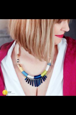 Kék, sárga, neonzöld, fehér, egyedi, kézműves, design nyaklánc, nyakék - Liv Ékszerek, ékszer