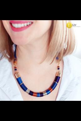 Kék, lila, narancssárga, ezüst, arany színű, egyedi, kézműves, design nyaklánc - Liv Ékszerek, ékszer