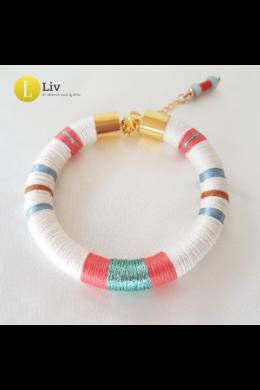 Türkiz, fehér, korall színű, egyedi, kézműves, design karkötő