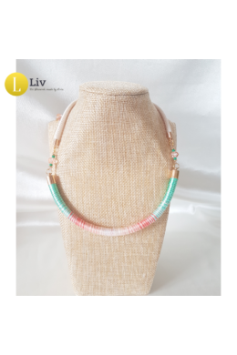 Minimál türkiz, lazac színű, kézműves  pamut nyaklánc