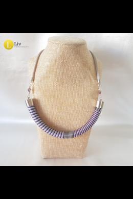 Lila, kék, ezüst színű, egyedi kézműves pamut nyaklánc