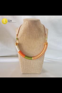 Narancssárga, zöld, fehér, egyedi, kézműves nyaklánc