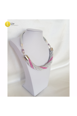 Ezüst, rózsaszín, egyedi, kézműves, fém, csavart nyaklánc