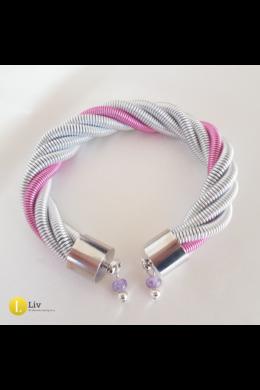 Ezüst, rózsaszín, egyedi, kézműves, fém, csavart karkötő