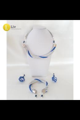 Ezüst, kék, egyedi, kézműves, fém, csavart nyaklánc, karkötő, fülbevaló ékszerszett
