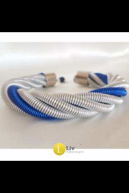 Ezüst, kék, egyedi, kézműves, fém, csavart karkötő