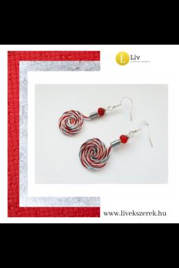 Piros, ezüst, színű, egyedi, kézműves, designer csiga fülbevaló- Liv Ékszerek, ékszer