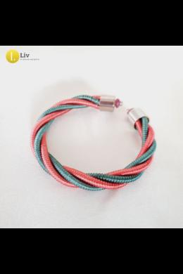 Rózsaszín, türkiz, ezüst színű, egyedi, kézműves, designer csavart karkötő - Liv Ékszerek, ékszer.