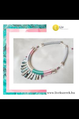 Rózsaszín, türkiz, ezüst színű, egyedi, kézműves nyakék, nyaklánc - Liv Ékszerek, ékszer