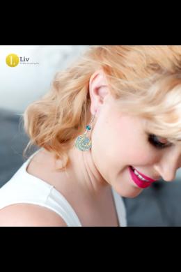 Sárga, világoskék,  ezüst színű,  egyedi, kézműves, csiga fülbevaló - Liv Ékszerek, ékszer