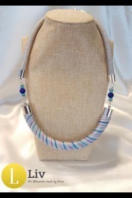 Kék,lila,türkiz, szürke, designer pamut nyaklánc