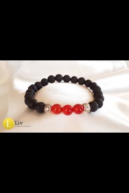 Piros-fekete unisex karkötő,( ásvány,ezüst színű fém ,lávakő)