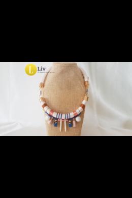 Bohó Nyakék - boho stílusú ,egyedi, fehér, kék, barna nyaklánc