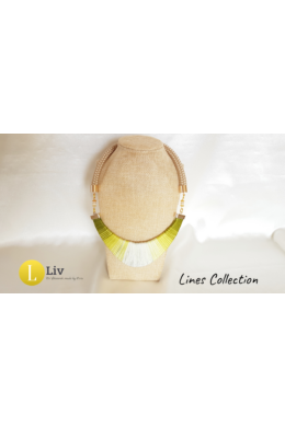Lime zöld , egyedi, kézműves, pamut nyaklánc