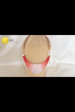 Korall színű, egyedi, kézműves pamut nyaklánc, 2.verzió