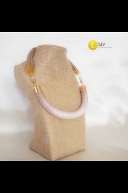 Pasztell rózsaszín, bézs, kézműves pamut nyaklánc