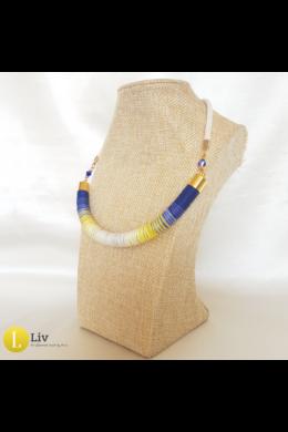 Sárga, kék, egyedi, kézműves pamut nyaklánc