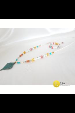 Türkiz, fehér, korall színű, egyedi, kézműves, hosszú nyaklánc, karkötő ékszer szett