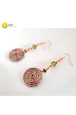 Zöld, rózsaszín, barackvirág színű, egyedi, kézműves, designer, csiga fülbevaló - Liv Ékszerek, ékszer