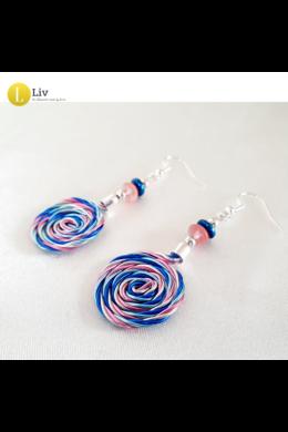 Kék, türkiz, rózsaszín, ezüst, szivárványos, egyedi, kézműves, designer, csiga fülbevaló - Liv Ékszerek, ékszer