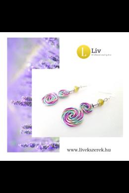 Lila, zöld, rózsaszín, türkiz, kézműves, dupla, csiga fülbevaló - Liv Ékszerek, ékszer