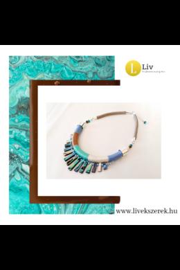 Türkizzöld, barna, kék, egyedi, kézműves, designer nyaklánc, nyakék - Liv Ékszerek, ékszer