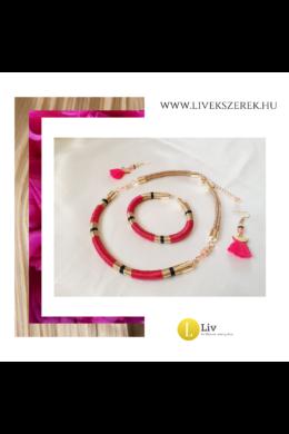 Fuxia rózsaszín, fekete, bronz színű,  egyedi, kézműves, designer nyaklánc, karkötő, fülbevaló, ékszerszett - Liv Ékszerek, ékszer