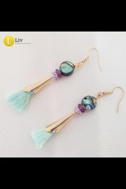 Türkiz, lila, egyedi, kézműves, designer bojtos fülbevaló  - Liv Ékszerek,  ékszer