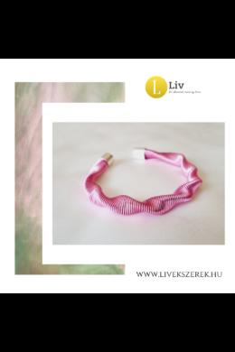 Rózsaszín, ezüst színű, egyedi, kézműves, designer, hullám karkötő - Liv Ékszerek, ékszer