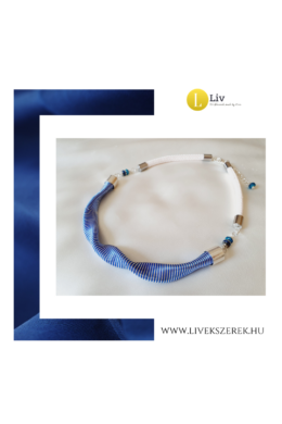 Sötétkék, ezüst színű, egyedi, kézműves, designer hullám nyaklánc - Liv Ékszerek, ékszer